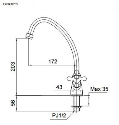 bản vẽ vòi nước chậu rửa bát TOTO TX603KCS nước lạnh
