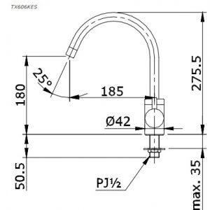 bản vẽ vòi nước chậu rửa bát TOTO TX606KES nóng lạnh