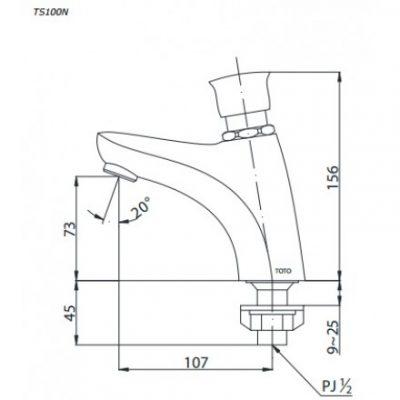 bản vẽ vòi rửa bán tự động TOTO TS100N