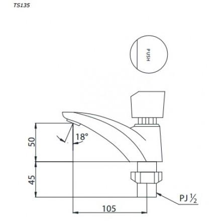 bản vẽ vòi rửa bán tự động TOTO TS135