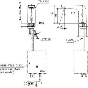 bản vẽ vòi rửa cảm ứng nước lạnh TOTO TTLA101/TTLE101B2L/TVLF405
