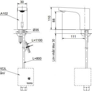 bản vẽ vòi rửa cảm ứng tự động TOTO TTLA102/TTLE101B2L/TVLF405