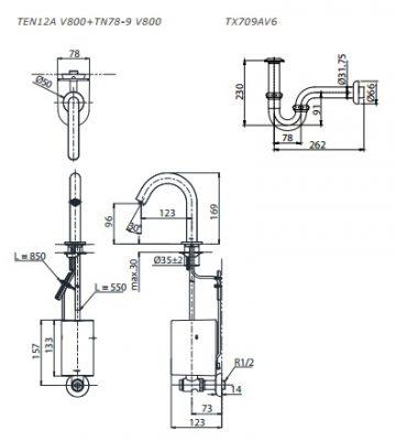 bản vẽ vòi rửa cảm ứng tự tạo năng lượng TOTO TEN12ANV900/TN78-9V900/TVLF405