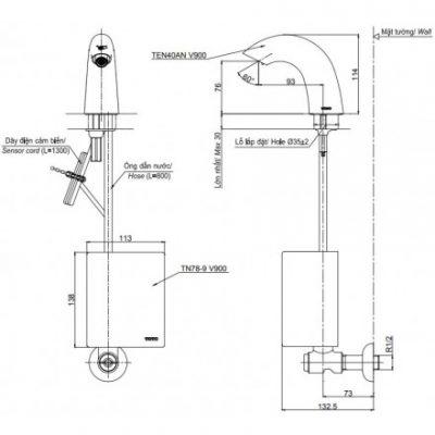 bản vẽ vòi rửa cảm ứng tự tạo năng lượng TOTO TEN40ANV900/TN78-9V900/TVLF405