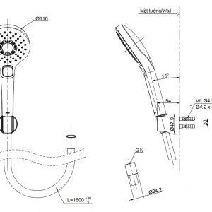 bản vẽ vòi sen tắm TOTO TBW01010A 3 chế độ massage