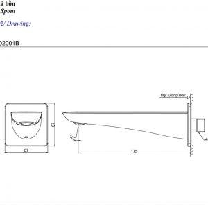 bản vẽ vòi xả bồn TOTO TBG02001B