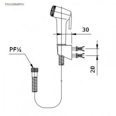 bản vẽ vòi xịt vệ sinh TOTO THX20NBPIV