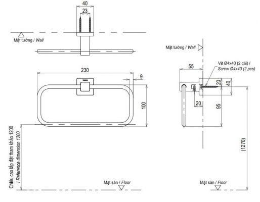 bản vẽ vòng treo khăn TOTO YTT408V