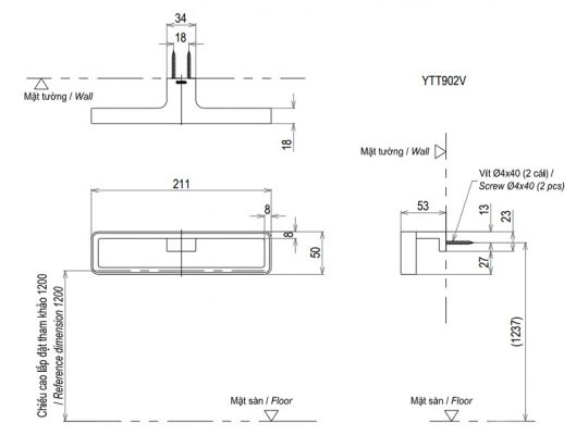bản vẽ vòng treo khăn TOTO YTT902V