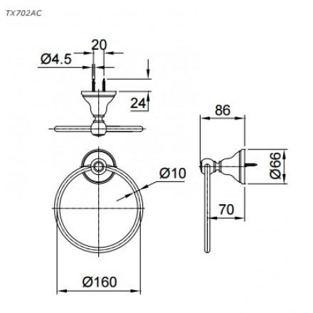 bản vẽ vòng treo khăn tắm TOTO TX702AC