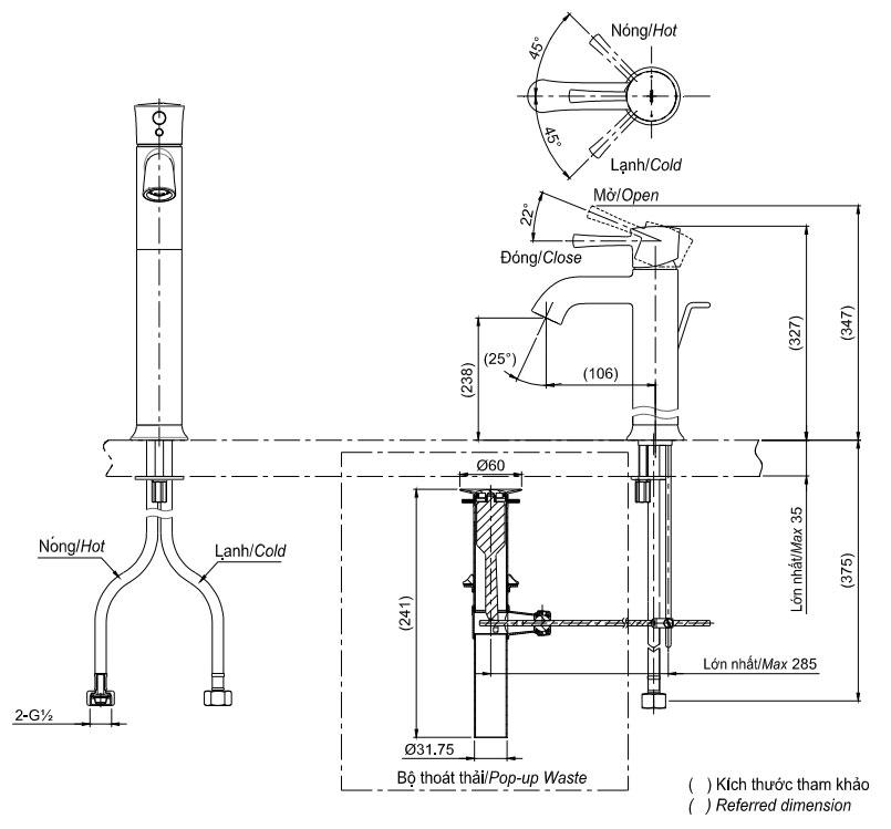 Bản vẽ kỹ thuật vòi chậu TOTO TLS02305V
