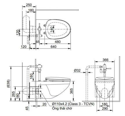 Bản vẽ bồn cầu treo tường INAX AC-22PVN