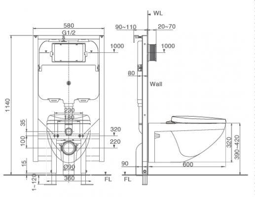 Bản vẽ bồn cầu treo tường INAX AC-23PVN