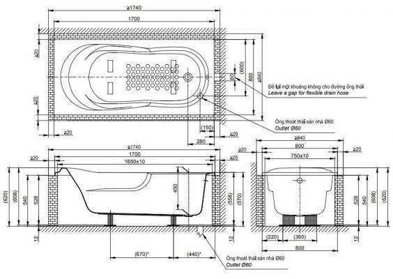 bản vẽ bồn tắm nằm TOTO PAY1770DH DB501R-2B