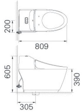 Bản vẽ bồn cầu 1 khối INAX AC-1032VN nắp êm