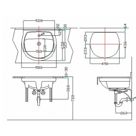bản vẽ chậu rửa lavabo đặt âm bàn INAX AL-2094V