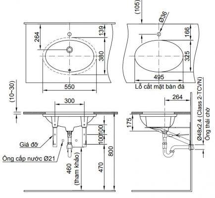 bản vẽ chậu rửa lavabo đặt âm bàn INAX AL-2216V