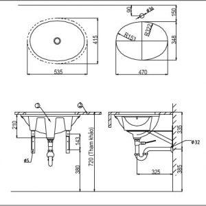 bản vẽ chậu rửa lavabo đặt âm bàn INAX AL-2293V