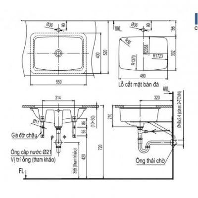 bản vẽ chậu rửa lavabo đặt âm bàn INAX AL-2298V