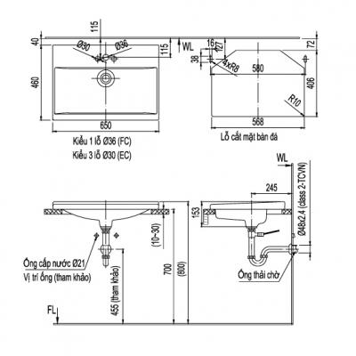 bản vẽ chậu rửa lavabo đặt âm bàn INAX AL-2397V