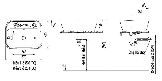 bản vẽ chậu rửa lavabo đặt bàn INAX AL-296V