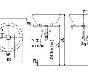 bản vẽ chậu rửa lavabo đặt bàn INAX AL-445V