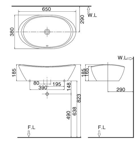 bản vẽ chậu rửa lavabo đặt bàn INAX AL-465V