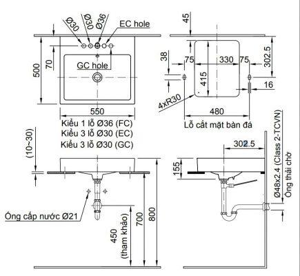 bản vẽ chậu rửa lavabo đặt bàn INAX AL-536 (GC/EC/FC)