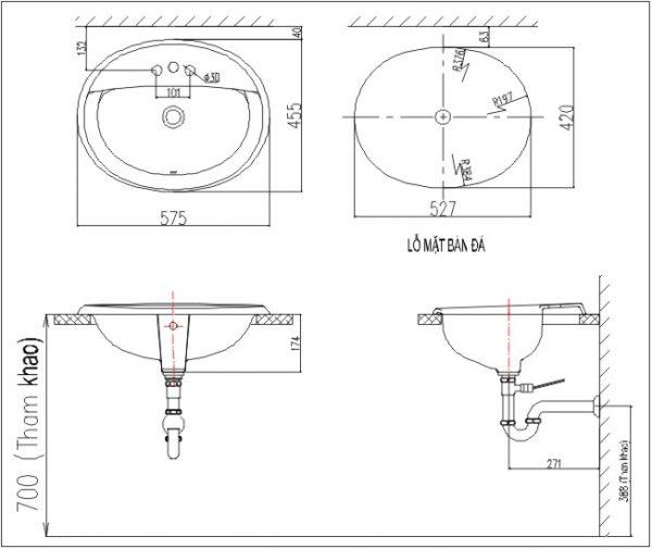 bản vẽ chậu rửa lavabo đặt dương vành INAX AL-2395V