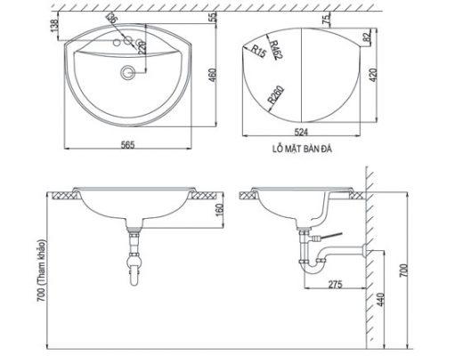 bản vẽ chậu rửa lavabo đặt dương vành INAX AL-2396V