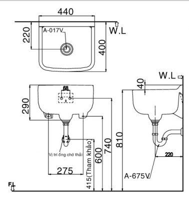 bản vẽ chậu rửa lavabo treo tường INAX S-17V