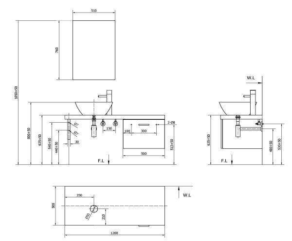 bản vẽ tủ chậu INAX CB1206-5QF-B màu gỗ đậm
