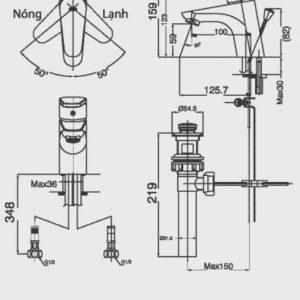 bản vẽ vòi chậu rửa mặt INAX LFV-112S