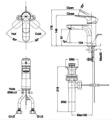 bản vẽ vòi chậu rửa mặt INAX LFV-1402S