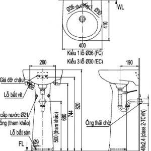 bản vẽ chậu rửa lavabo chân dài INAX L-282V