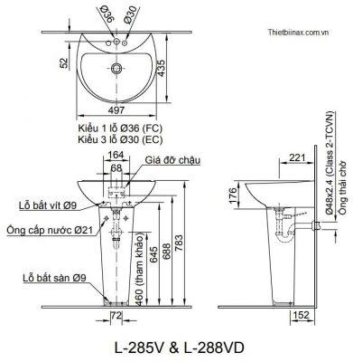 bản vẽ chậu rửa lavabo chân dài INAX L-285V