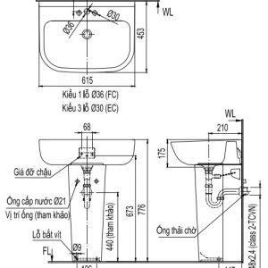 bản vẽ chậu rửa lavabo chân dài INAX L298V