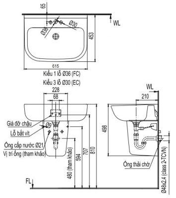 bản vẽ chậu rửa lavabo treo tường INAX L-298V
