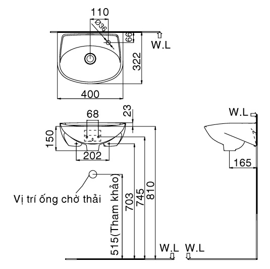 bản vẽ chậu rửa mặt treo tường INAX L-280V