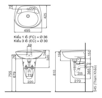 bản vẽ chậu rửa mặt treo tường INAX L-284V