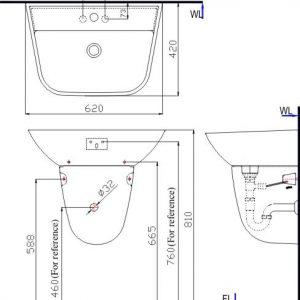 bản vẽ chậu rửa mặt treo tường INAX L-297V