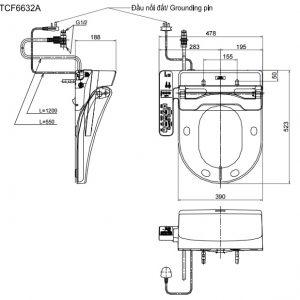 bản vẽ nắp rửa bồn cầu TOTO TCF6632A