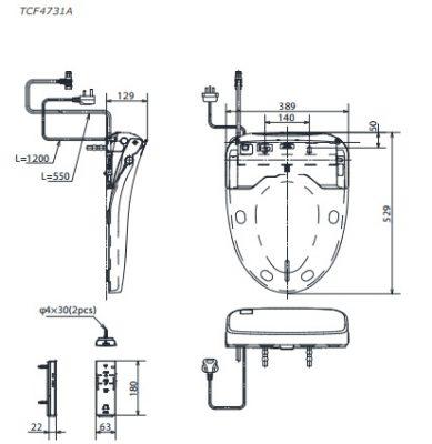 bản vẽ nắp rửa điện tử WASHLET TOTO TCF4732A