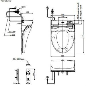 bản vẽ nắp rửa điện tử WASHLET TOTO TCF6531Z