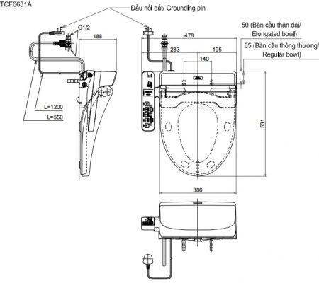 bản vẽ nắp rửa điện tử WASHLET TOTO TCF6631A