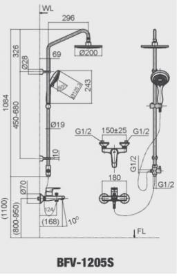 bản vẽ sen cây tắm INAX BFV-1205S