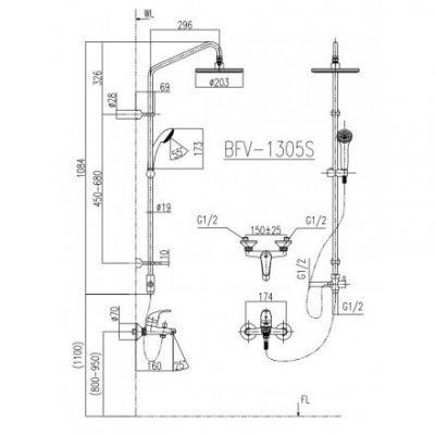 bản vẽ sen cây tắm INAX BFV-1305S