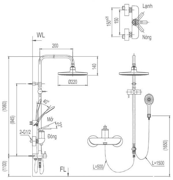 bản vẽ sen cây tắm INAX BFV-41S-5C