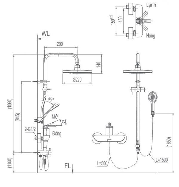 bản vẽ sen cây tắm INAX BFV-41S