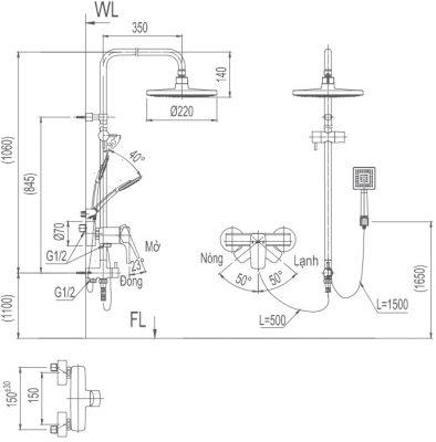 bản vẽ sen cây tắm INAX BFV-50S-5C